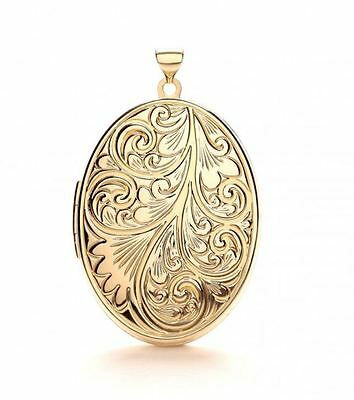 LARGE Hallmarked 9ct Gold Photo 'Family' Locket Pendant Holds 4x Photos 46x30mm