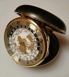 Vintage Linden Travel Alarm Clock w/ World Map & Time Zones - Japan - Clamshell