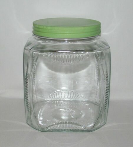 Kitchenware Hocking Glass RIBBED Crystal Large Square Canister with Metal Lid