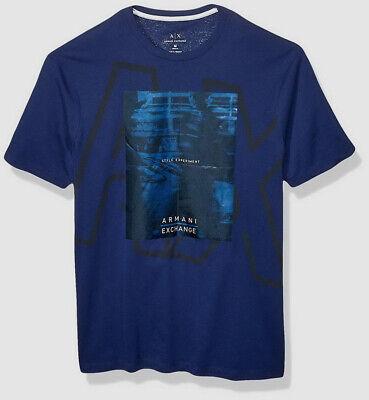 $191 Armani Exchange Men's Blue Short-Sleeve Logo Crew-Neck T-Shirt Size M