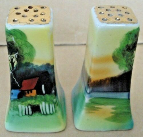 Gold Accent, Hand-Painted Salt & Pepper Shakers from Japan