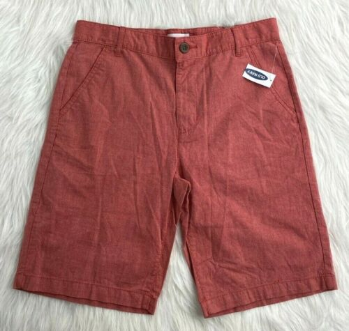 Old Navy Coral Red Shorts Chino Kids Sz 10 Husky Boys NWT NEW