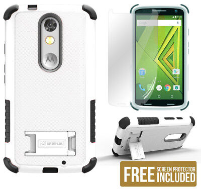 Black Shield Case (White/Black Tri-Shield Rugged Case Cover Stand for Motorola Droid Turbo 2 XT1585 )