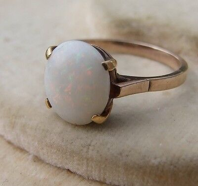 1940's Large Oval OPAL 9ct Light Rose gold ring size N 1/2 ~ US 7