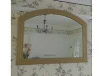 Large Arched mirror for sale. Antique Gold colour brushed Satin frame. 100cm wide by 78cm.