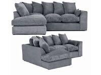 ❤️❤️Brand New Dylan Sofa Range Corner sofa, 3+2+1 + footstool (Grey, Chocolate, Mink, Black)❤️❤️