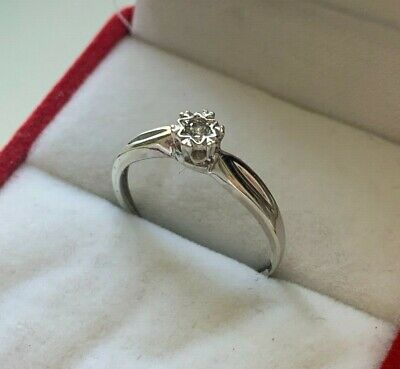 9ct White Gold 0.5ct Diamond Solitaire Engagement Ring UK Hallmarked Size M 1/2