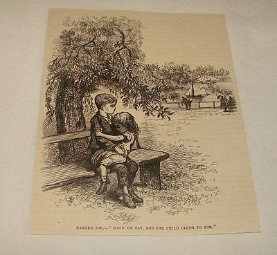 1880 magazine engraving ~ YOUNG BOY AND GIRL ON PARK (Parks Benches Magazine)