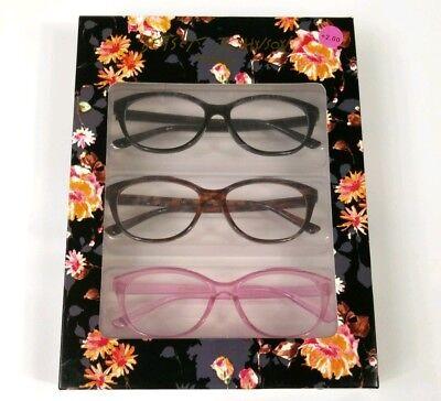 Betsey Johnson 3 Pairs Set Reading Glasses Black Pink Cheetah Readers +2.00 New