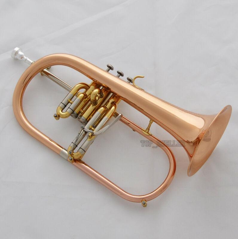 PRO Rose Brass Engraving Bell Flugelhorn Abalone Newest Water Key Bb horn w/Case