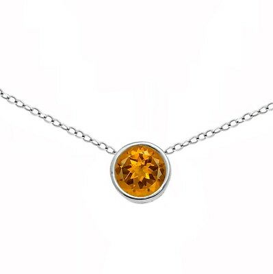 Natural 5mm Citrine Round Bezel Choker Necklace 14k White Gold 13-16 (Citrine Bezel Necklace)