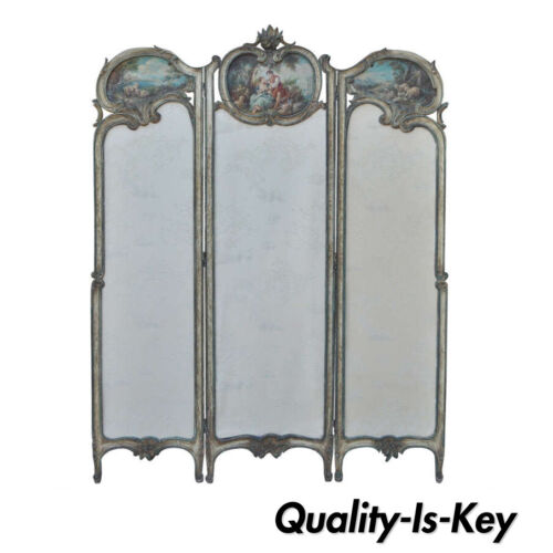 19th C. French Louis XV Style Hand Painted & Carved Petite Small Dressing Screen