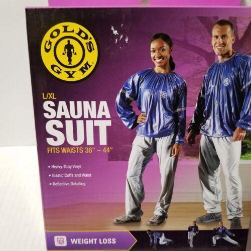 """Golds Gym Sauna Suit Size L/XL Blue T w/ Gray Pull On Pants Vinyl Waist 36""""-44"""""""