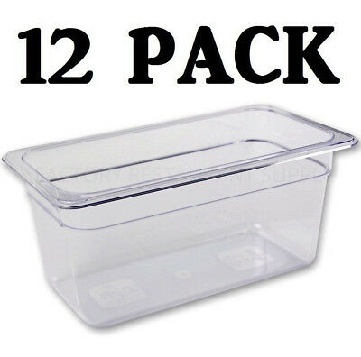 12 Pack 13 Size Polycarbonate Clear Plastic Steam Prep Table Food Pan 6 Deep