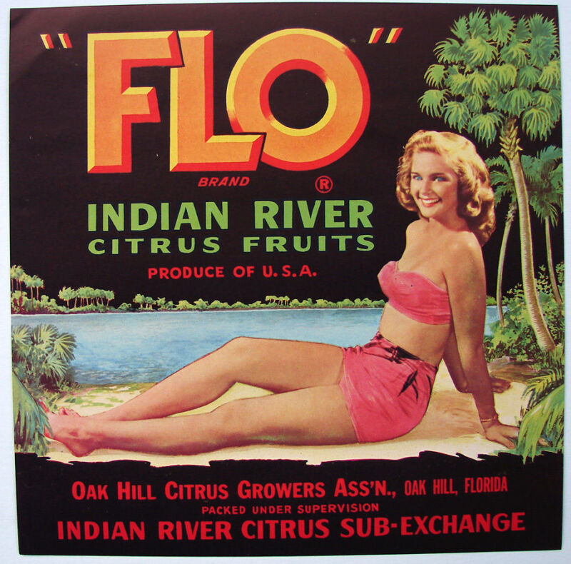 FLO Vintage Florida Citrus, Indian River, Girl, *AN ORIGINAL CRATE  LABEL* wear