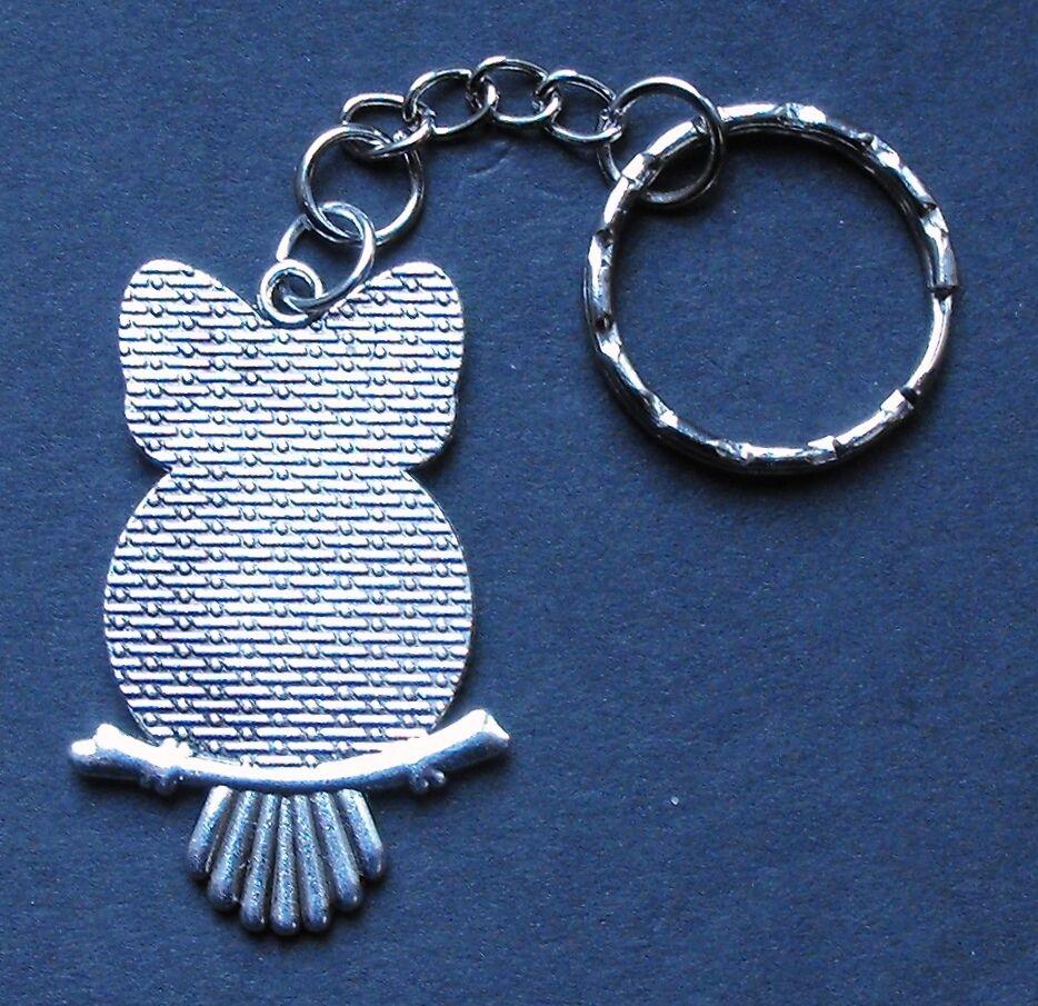 1936 silver sixpence owl bird pendant charm key ring 80th