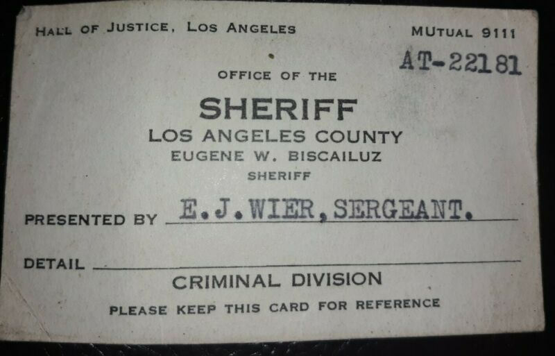 Vintage Office Of The Sheriff Los Angeles County Criminal Division Business Card