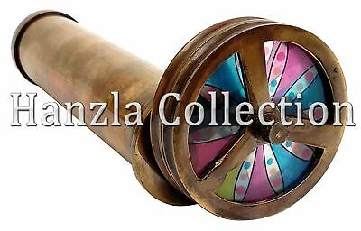 Vintage Antique style Brass Double Rotating Wheel Kaleidoscope Handmade Gift