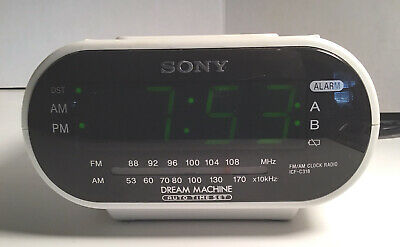 Sony Dream Machine White Clock Radio Large Green Num. Dual Two 2 Alarms ICF-C318