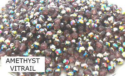 50 Pcs WHOLESALE 8mm CZECH GLASS FIRE POLISHED BEADS  -  AMETHYST VITRAIL