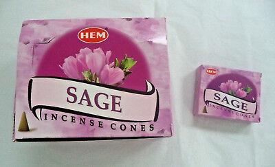 Hem Incense Cones Sage: 10 20 30 60 100 or 120 U Choose! ()
