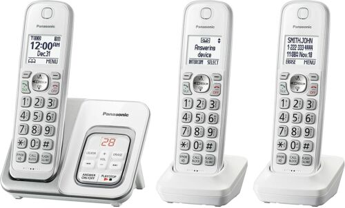 🔥 Panasonic 3-CT Handset Cordless Telephone with Answering Machine - White