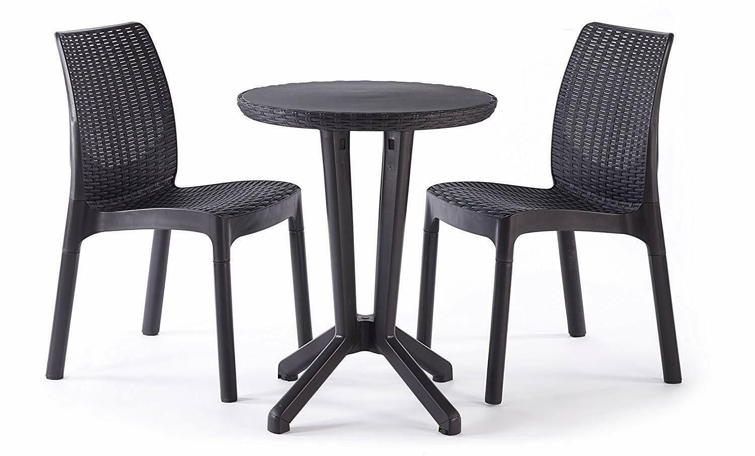 Garden Furniture - Keter Bistro Balcony Patio 2 Seater Rattan Outdoor Garden Furniture Set Graphite