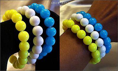 Neon Bracelets (NEW BRIGHT NEON BLUE WHITE YELLOW BEAD STATEMENT STRETCH BRACELET)