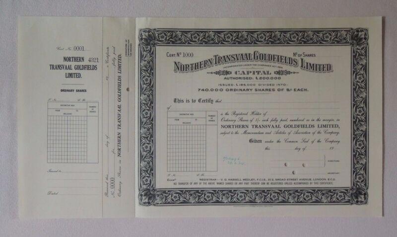 South Africa Northern Transvaal Goldfields Ltd share 1934 Bradbury Specimen