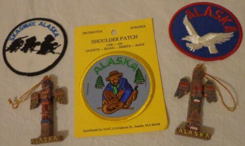 "VINTAGE ALASKA TRAVEL SOUVENIR LOT 3"" PATCH SKAGWAY EAGLE MINERS TOTEM ORNAMENT"