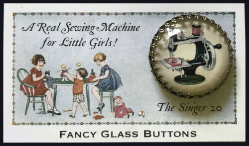 """TOY SEWING MACHINE Glass Dome 1 1/4""""  BRASS FILIGREE BUTTON Vintage SINGER CARD"""