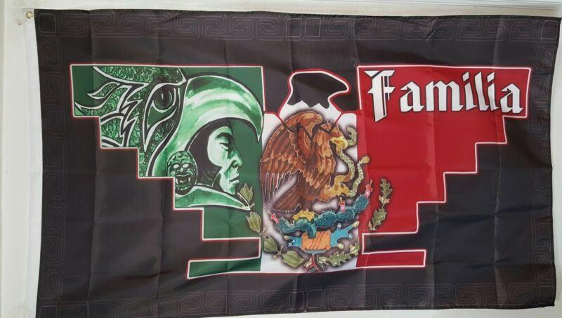 Huelga 3 X 5 Flag Familia Aztec Warrior Mexico Flag Farmero Pride