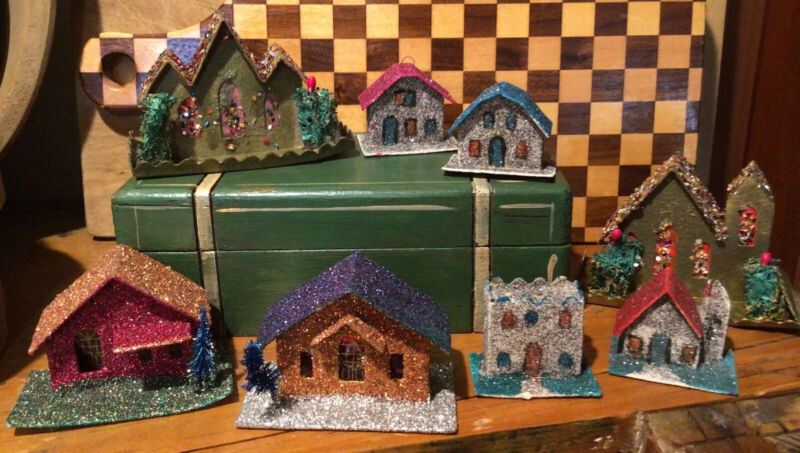 Vintage Putz Village Houses & Church Set Of (9) Mica Japan