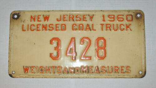 New Jersey 1960 Licensed Coal Truck License Plate
