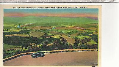 Sky Line Drive  Shenandoah Valley   River  Va  Unused Linen Postcard 12054