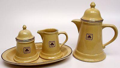 Vtg PFALTZGRAF COFFEE TEA POT/CREAMER/SUGAR TRAY SET STATE FARM INSURANCE ADVERT