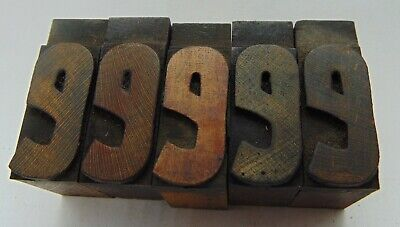 Vintage Printing Letterpress Printers Block Lot Of 5 Letter E Wood Type