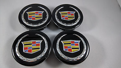 New Set of 4X CADILLAC 66MM Center Wheel Rim Hub Caps Cap Black Color Wreath