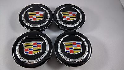 New Set of 4X CADILLAC 66MM Center Wheel Rim Hub Caps Cap Black Color Wreath