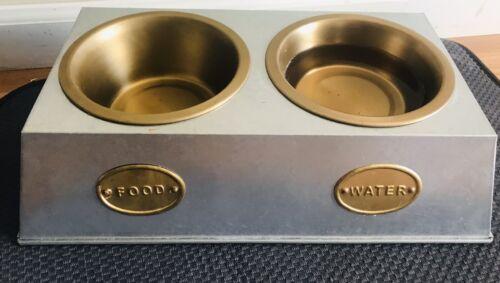 NEW Elevated Alum. Metal PET FOOD Water FEEDER w/ Bowls Dog Food Stylish