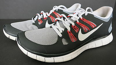 MENS NIKE FREE 5.0 RUNNING SHOES BLACK RED WHITE & GRAY SIZE 9