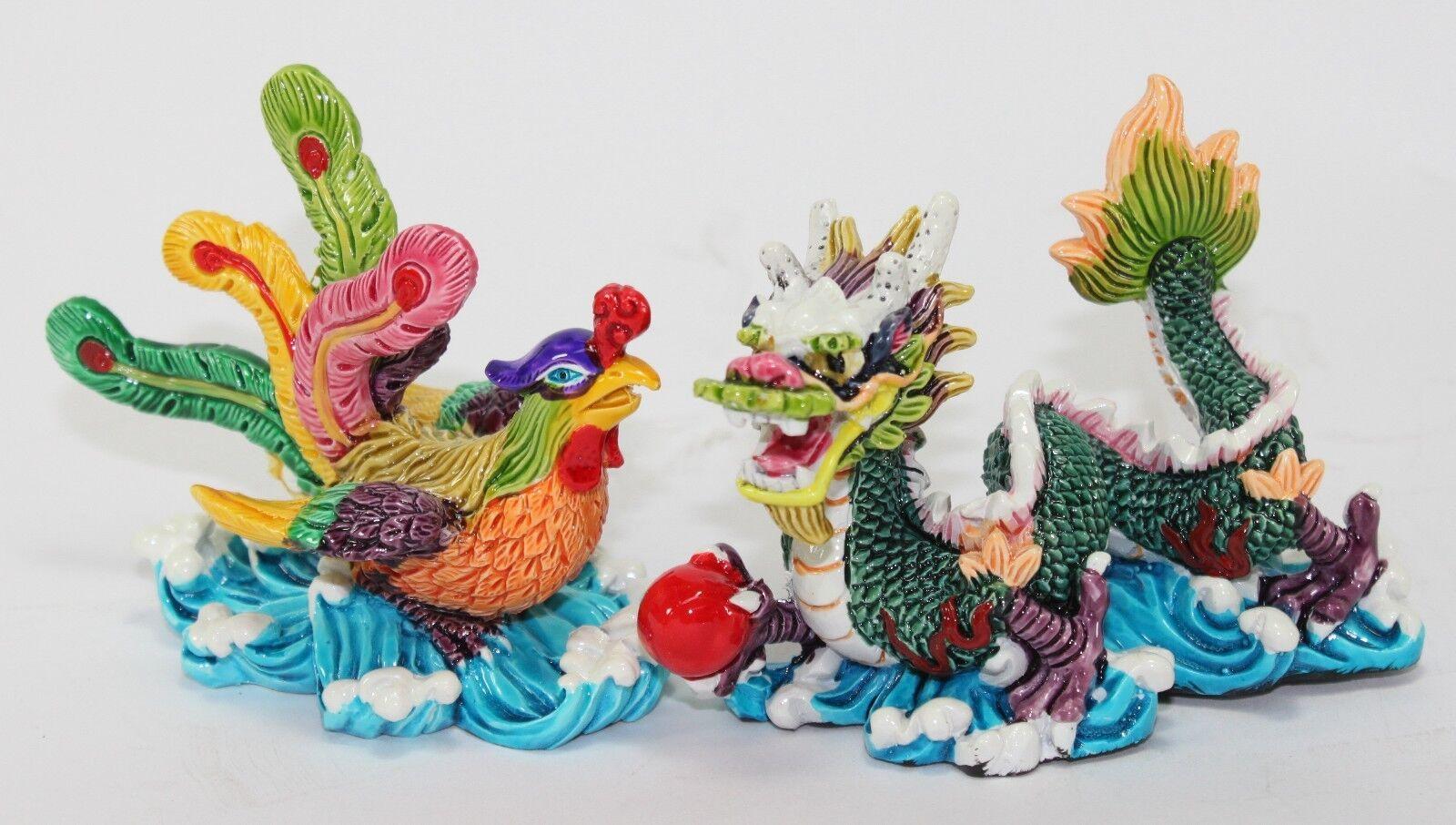 "Wedding Statue Gifts: Feng Shui Pair Of 3"" Phoenix Dragon Statue Figurine"