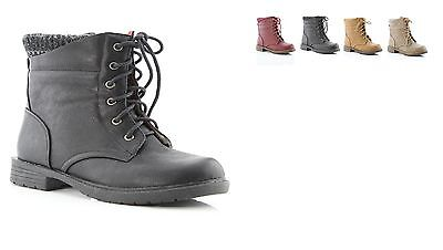 New Youth Girls Low Heel Classic Lace Up Combat Ankle Boots Faux Leather Shoes