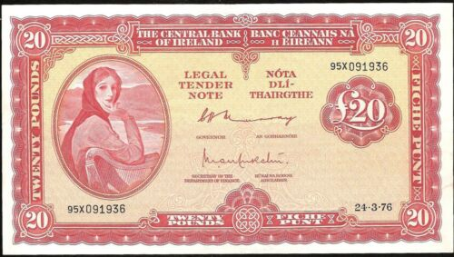 CENTRAL BANK OF IRELAND 20 POUNDS 1976 P:67c XF