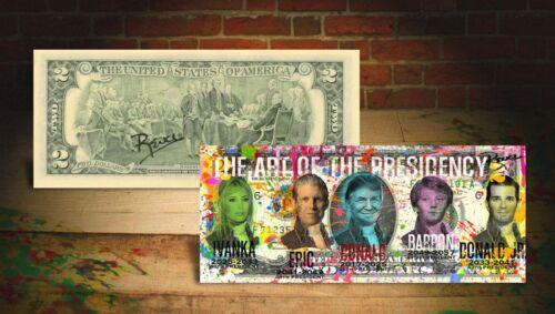 """TRUMP """" ART OF THE PRESIDENCY """" on GENUINE Tender $2 Bill HAND-SIGNED Rency ART"""