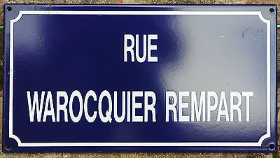 French enamel steel street sign road plaque vintage Rue Warocquier Rempart