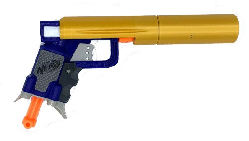 Nerf+Jolt+Custom+Shiny+Silk+Golden+Gun+Silencer+%7C+Custom+Nerf+Gun+Attachment+