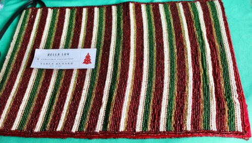 RED GREEN GOLD WHITE BEADED CHRISTMAS HOLIDAY TABLE RUNNER 13 X 36 NEW BEAUTIFUL