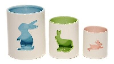 White Ceramic Bunny Cut-out Candle Holder Set/3 Easter Spring Home Decor NEW