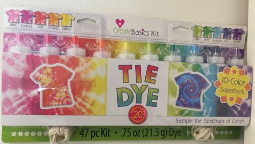 Create Basics Tie Dye Kit, 47 Piece 10 Color Super Pack Brand New Factory Sealed